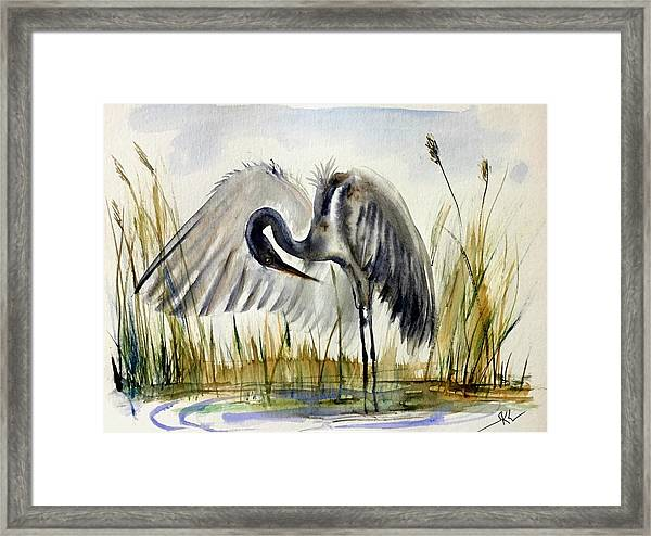 Framed Print featuring the painting Near The Pond 3 by Katerina Kovatcheva