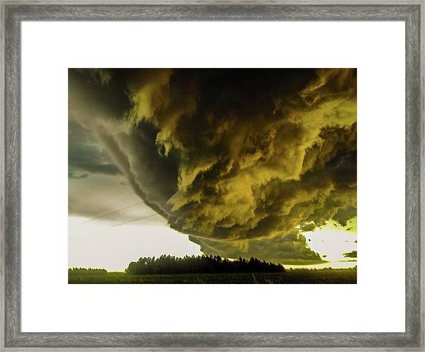 Nebraska Supercell, Arcus, Shelf Cloud, Remastered 018 Framed Print