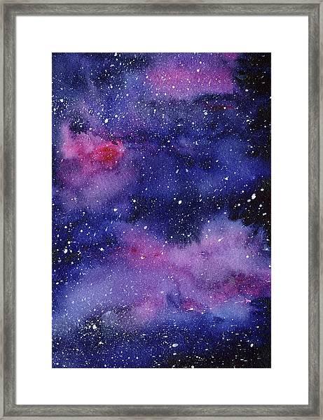 Nebula Watercolor Galaxy Framed Print