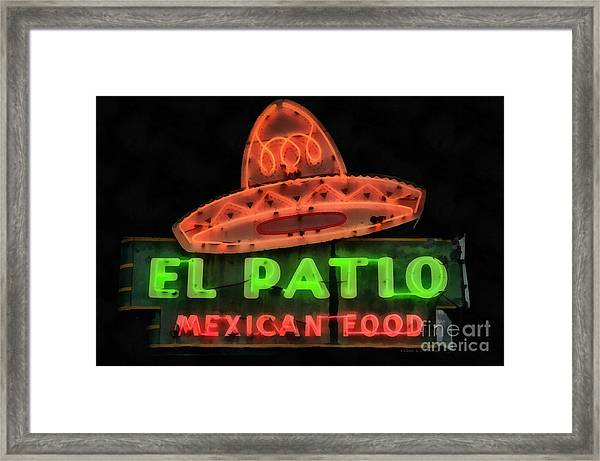 Framed Print featuring the painting Neon Sign Series Mexican Food Austin Texas by Edward Fielding