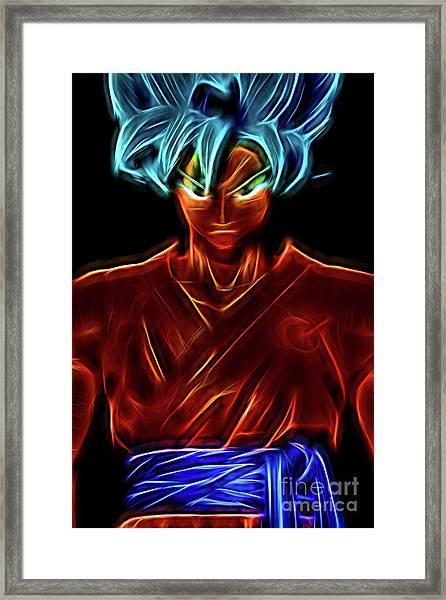 Neon Ss God Goku Framed Print