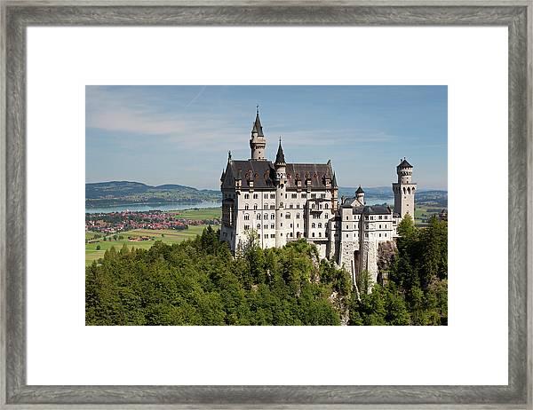 Neuschwanstein Castle With Village Framed Print