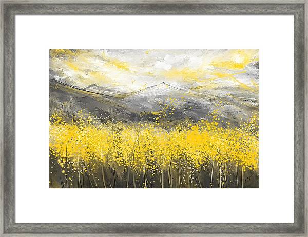 Neutral Sun - Yellow And Gray Art Framed Print
