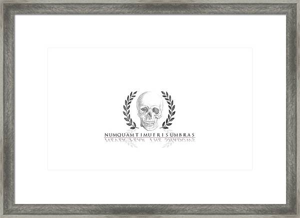 Never Fear The Shadows Stoic Skull With Laurels Framed Print