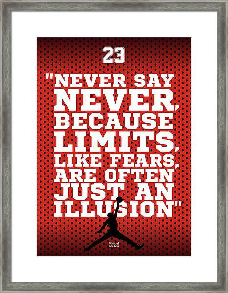 Never Say Never Gym Motivational Quotes Poster Framed Print