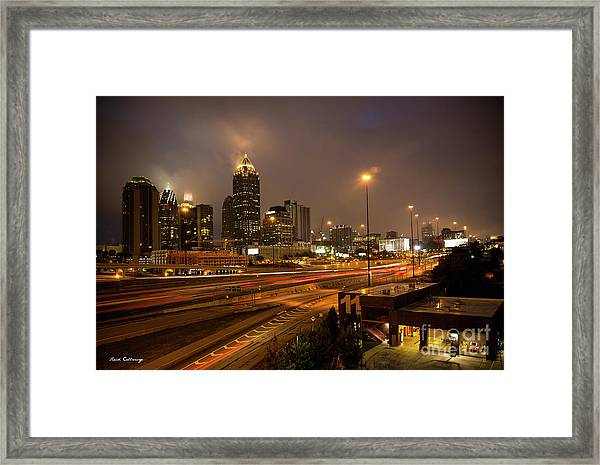 Never Sleeping Atlanta In Motion Midtown Light Trails Art Framed Print