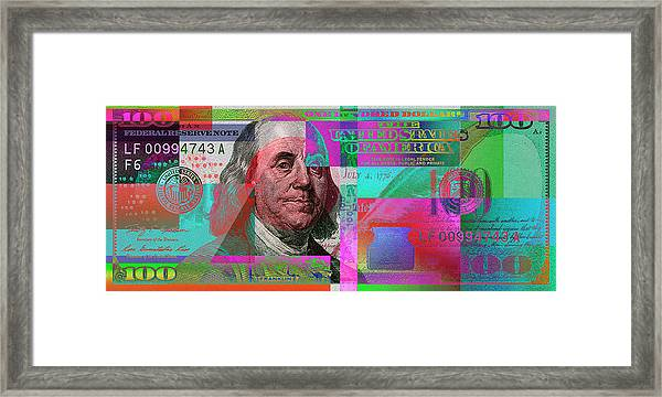 New 2009 Series Pop Art Colorized Us One Hundred Dollar Bill  No. 3 Framed Print