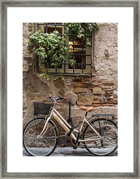 New Bike In Old Lucca Framed Print