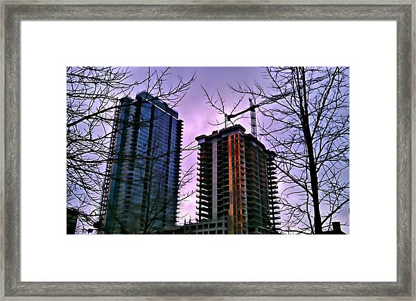 New Construction, Two Towers Framed Print