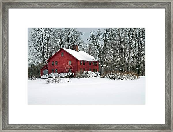 New England Colonial Home In Winter Framed Print