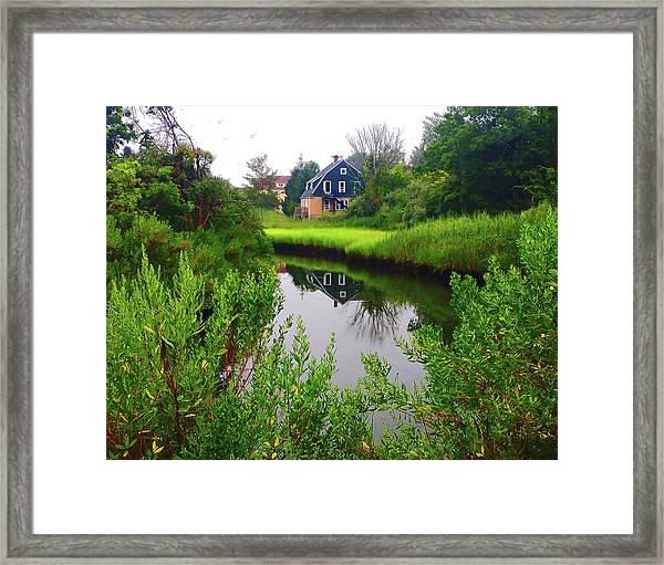 New England House And Stream Framed Print