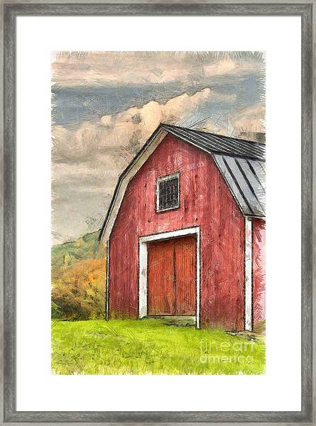 New England Red Barn Pencil Framed Print