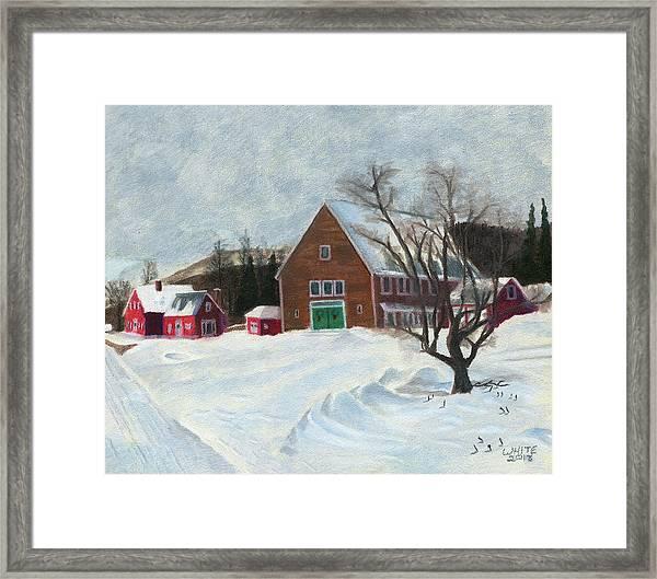 New Hampshire Farm In Winter Framed Print