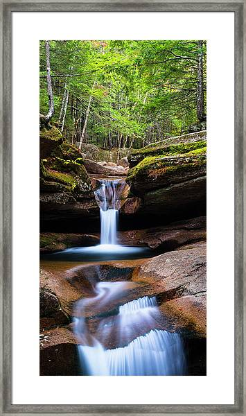 New Hampshire Sabbaday Falls And Fall Foliage Panorama Framed Print