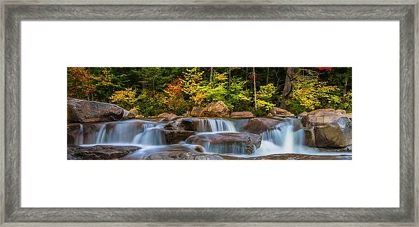 New Hampshire White Mountains Swift River Waterfall In Autumn With Fall Foliage Framed Print