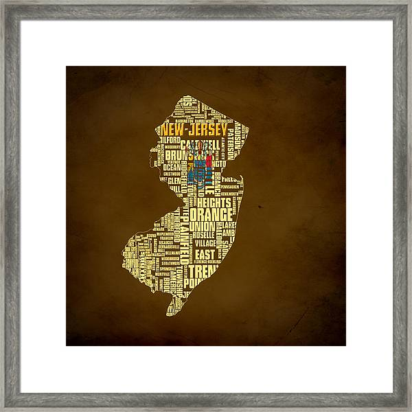 New Jersey Typographic Map 01 Framed Print