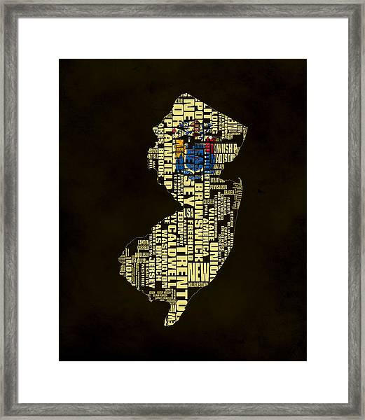 New Jersey Typographic Map 02 Framed Print