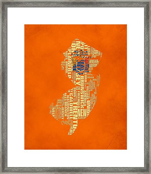 New Jersey Typographic Map 03 Framed Print