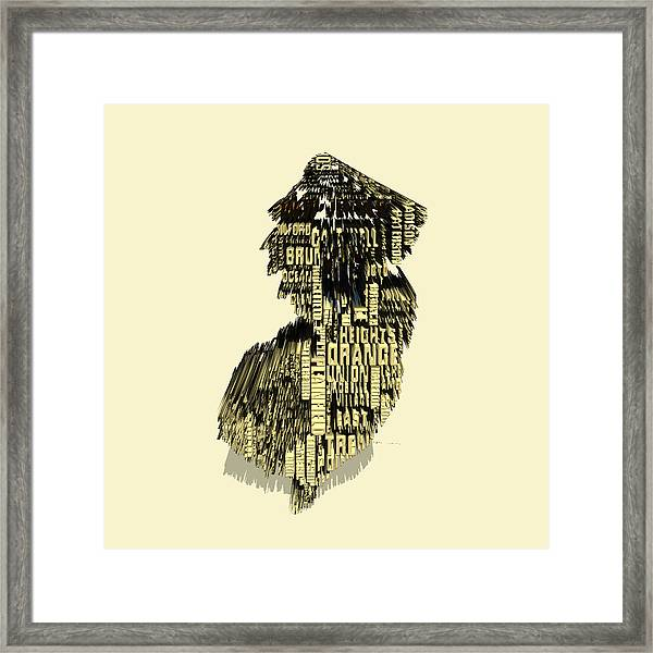 New Jersey Typographic Map 4d Framed Print