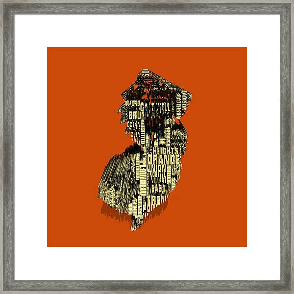 New Jersey Typographic Map 4e Framed Print