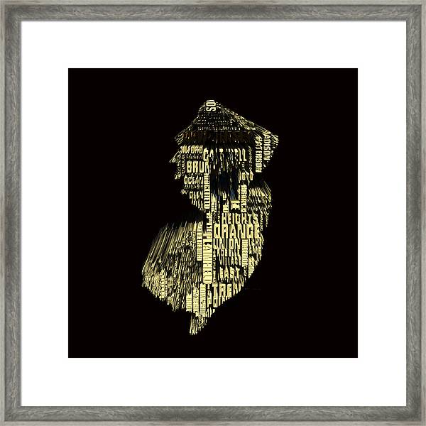 New Jersey Typographic Map 4f Framed Print