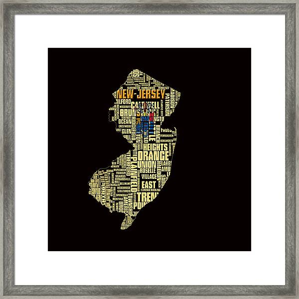 New Jersey Typographic Map 4g Framed Print