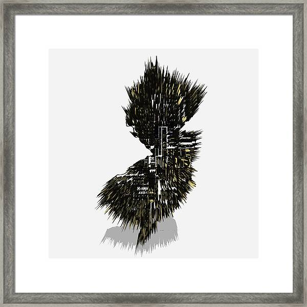 New Jersey Typographic Map 5j Framed Print