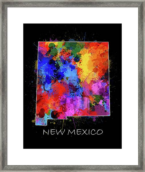 New Mexico Map Color Splatter 2 Framed Print