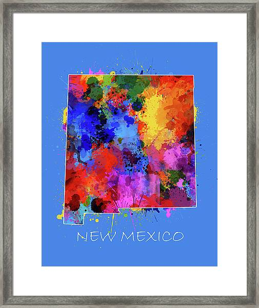 New Mexico Map Color Splatter 3 Framed Print