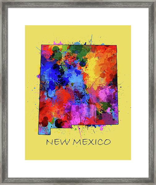 New Mexico Map Color Splatter 4 Framed Print