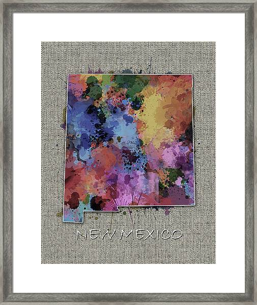 New Mexico Map Color Splatter 5 Framed Print