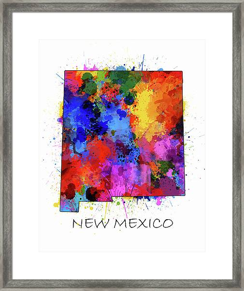 New Mexico Map Color Splatter  Framed Print