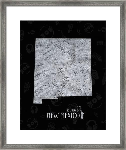 New Mexico Map Music Notes 2 Framed Print