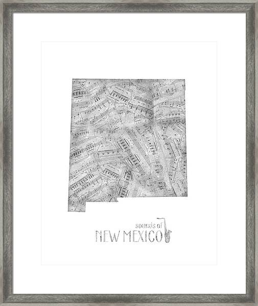 New Mexico Map Music Notes Framed Print