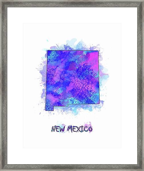 New Mexico Map Watercolor 2 Framed Print