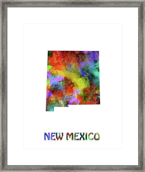 New Mexico Map Watercolor Framed Print