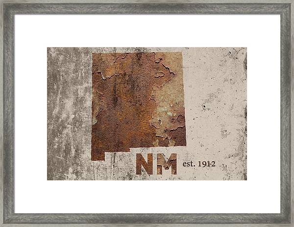 New Mexico State Map Industrial Rusted Metal On Cement Wall With Founding Date Series 047 Framed Print