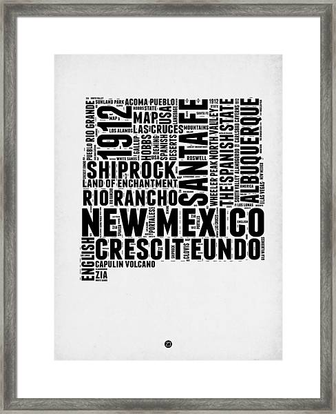 New Mexico Word Cloud Map 2 Framed Print