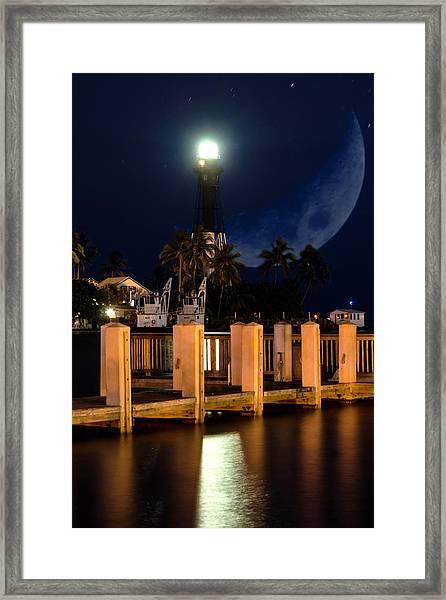 New Moon At Hillsboro Inlet Lighthouse Framed Print