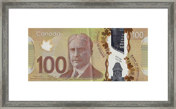 New One Hundred Canadian Dollar Bill Framed Print