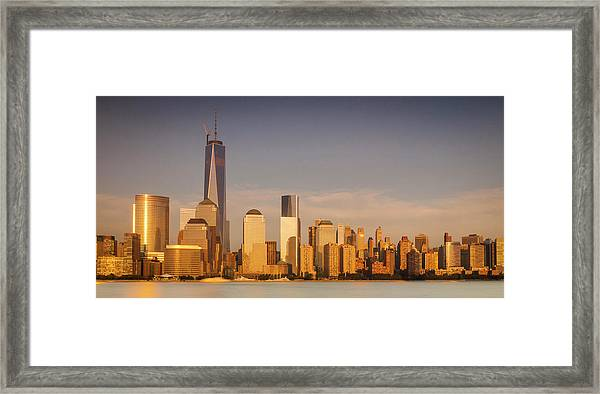 New World Trade Memorial Center And New York City Skyline Panorama Framed Print