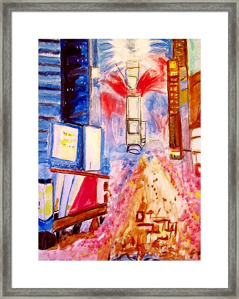 New Years Eve In Times Square Framed Print