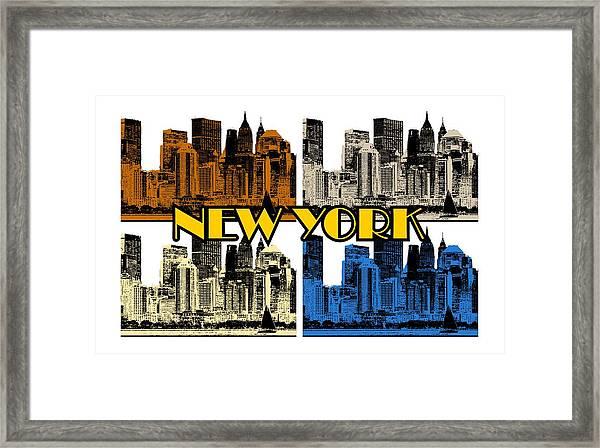 New York 4 Color Framed Print