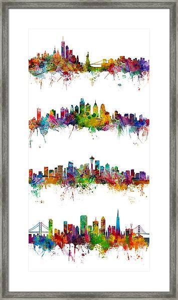 New York, Philadelphia, Seattle And San Francisco Skylines Framed Print