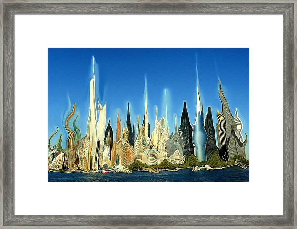 New York City Skyline 2100 - Modern Artwork Framed Print