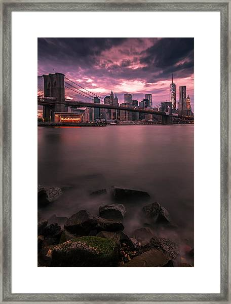 New York City Brooklyn Bridge Sunset Framed Print