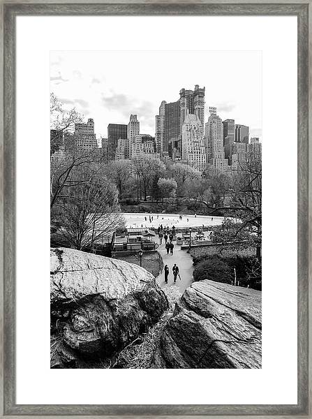 New York City Central Park Ice Skating Framed Print
