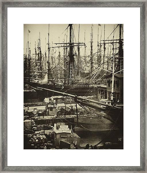 New York City Docks - 1800s Framed Print