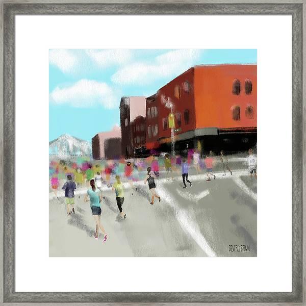 New York City Marathon Framed Print by Beverly Brown