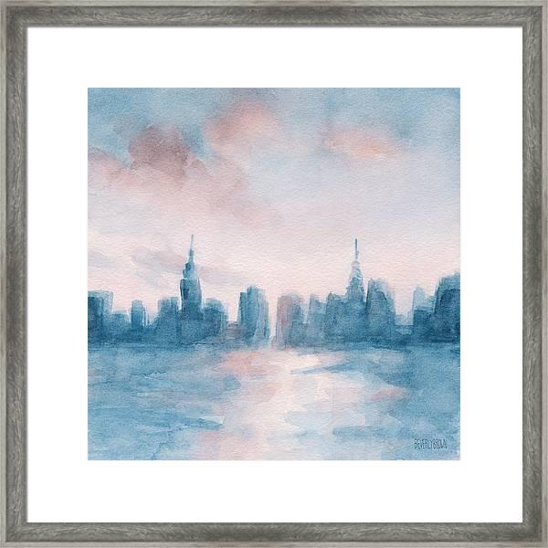New York City Skyline Coral And Aqua Framed Print